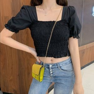 Square Neck Puff Sleeve Cropped Top